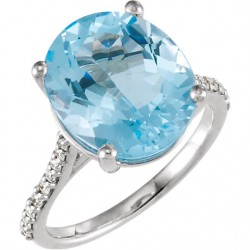 14K White Sky Blue Topaz & 1/4 CTW Diamond Ring