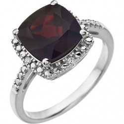 14K White Mozambique Garnet & .03 CTW Diamond Ring
