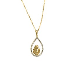 14K Yellow Gold0.08Ct Diamond Pendant On 0.8Mm Cable Link Chain With Lobster Clasp