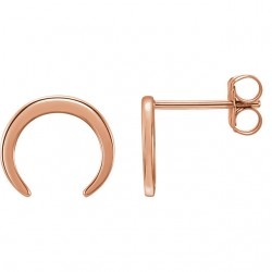 14K Rose Crescent Earrings
