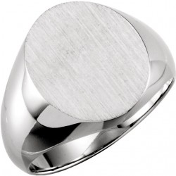 Sterling Silver 16x14mm Solid Oval Men