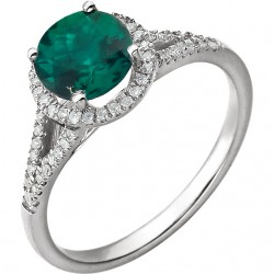 14K White Lab Created Emerald & 1/6 CTW Diamond Ring