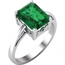 14K White 9x7mm Emerald Scroll SettingB. Ring Mounting