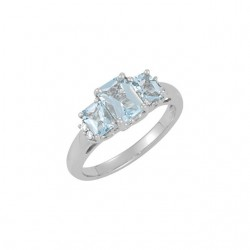 14K White Aquamarine & .05 CTW Diamond Ring