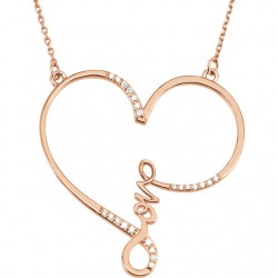 "Sterling Silver 1/8 CTW Diamond ""Love"" Heart Infinity-Inspired 18"" Necklace"