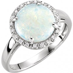 14K White Opal & .07 CTW Diamond Ring