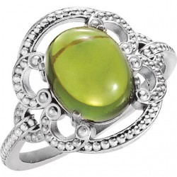 14K White Peridot Granulated Design Ring