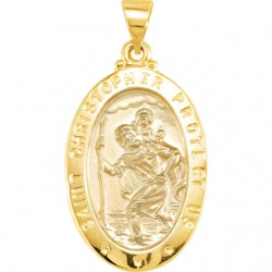 14K Yellow 15x11mm Oval St. Christopher Hollow Medal