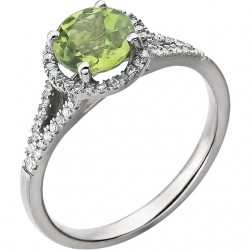 14K White Peridot & 1/5 CTW Diamond Ring