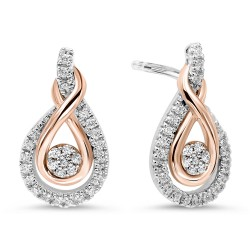 Loves Crossing Rose Gold and Silver Diamond Earrings