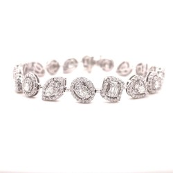 14K White Gold Multi-Shape Diamond Bracelet