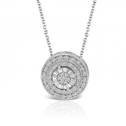 Sterling Silver halo diamond pendant
