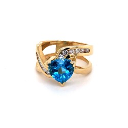 Blue Topaz & Diamond Estate Ring