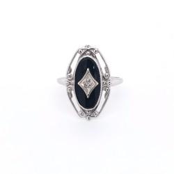 Onyx & Diamond Estate Ring