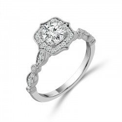 Vintage Round Halo Engagement Ring