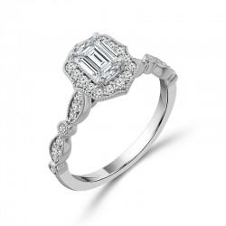 Vintage Emerald Cut Halo Engagement Ring