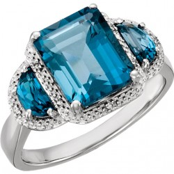 14K White London Blue Topaz & .03 CTW Diamond Ring