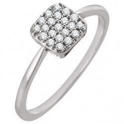 14K White 1/6 CTW Diamond Square Cluster Ring