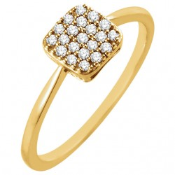 14K Yellow 1/6 CTW Diamond Square Cluster Ring