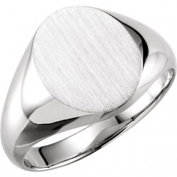 Sterling Silver 14x12mm Solid Oval Men