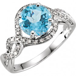 14K White Swiss Blue Topaz & 1/6 CTW Diamond Ring