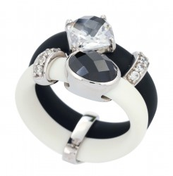Venezia Black/White Ring