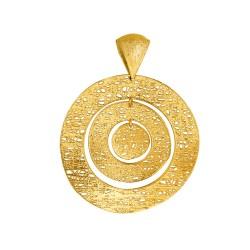 14K Yellow Gold Cable Chain Linkunwinding Flat Circle Pendant Stil Novo C Ollection