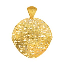 14K Yellow Gold Cable Chain Link With 35Mm Twisted Flat Curve Round Flat Me Sh Type Pendant Stil Novo Collection