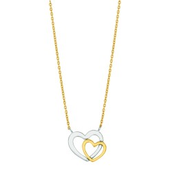14K Yellow Gold Lcab030 Cable Chain With Lobster Clasp2 Open Heart Two Tone Pendant