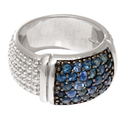 Silver With Rhodium Finish 9.0Mm Rectangular Top Popcorn Like Ring With Blue Sap Phires Phillip Gavriel Collection