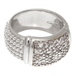 Silver With Rhodium Finish 9.0Mm Rectangular Top Popcorn Like Ring With White S Apphire Phillip Gavriel Collection