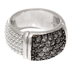 Silver With Rhodium Finish 9.0Mm Rectangular Top Popcorn Like Ring With Black Sa Pphire Phillip Gavriel Collection