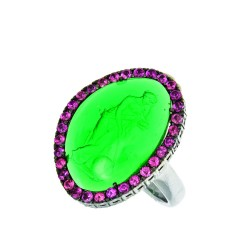 Silver With Rhodium Finish 20.7X15.6Mm Green Glass Cameo Ring Bordered With Small Rhodolite