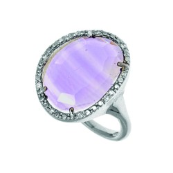 Silver With Rhodium Finish 15.9X12.15Mm Amethyst Ring With 0.045Ct. White Diamond