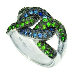 Silver With Rhodium Finish Shiny 6.3Mm Blue Sapphi Rerodolite On 3-Open Oval Link Top Fancy Ring