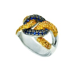 Silver With Rhodium Finish Shiny 6.2-13.1Mm Gradua Ted 3-Open Oval Link Top Ring Studdeded With Yello W & Blue Sapphire