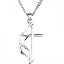 "Sterling Silver 19x10mm Methodist Cross 18"" Necklace with Box"