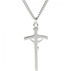 "Sterling Silver 38x18mm Crucifix 24"" Necklace"