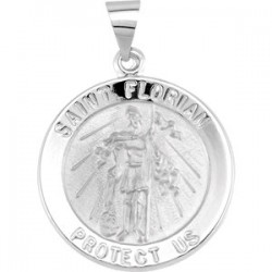 14K White 21.8mm Round Hollow St. Florian Medal