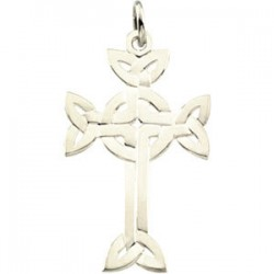 Sterling Silver 31.25x20mm Celtic Design Cross Pendant