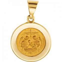 14K Yellow 14.75mm Round Hollow Baptismal Medal
