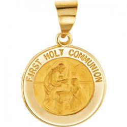 14K Yellow 14.75mm Round Hollow First Communion Medal