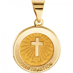 14K Yellow 14.75mm Round Hollow Confirmation Medal