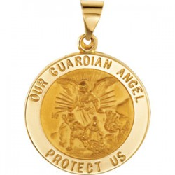 14K Yellow 21.75mm Round Hollow Guardian Angel Medal