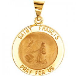 14K Yellow 15mm Round Hollow St. Francis Medal