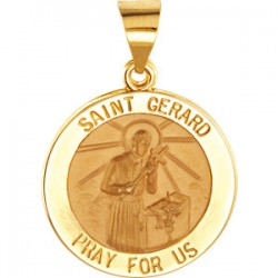 14K Yellow 18.25mm Round Hollow St. Gerard Medal