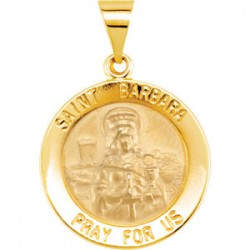 14K Yellow 15mm Round Hollow St. Barbara Medal