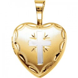 14K Yellow Gold-Plated Sterling Silver Heart Cross Locket