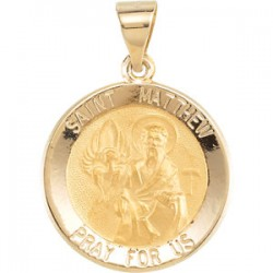14K Yellow 18.5mm Round Hollow St. Matthew Medal
