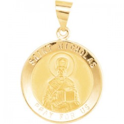 14K Yellow 18.5mm Round St. Nicholas Hollow Medal